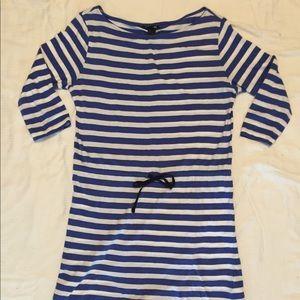 H&M Blue/White Striped Tie Waist Dress Size M